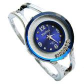 韓版鑲水鑚個性大氣簡約鋼帶防水石英手鐲表開口式女學生流行手錶限時促銷!