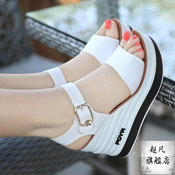 楔形涼鞋 2021夏新款女鞋皮質高跟厚底楔形厚底防滑女涼鞋鬆糕跟露趾