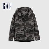Gap男幼童 時尚直筒型運動連帽外套 600531-黑色迷彩