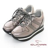 【CUMAR】休閒主義 - 簡約休閒側邊燙鑽綁帶多層次厚底休閒鞋(槍色)