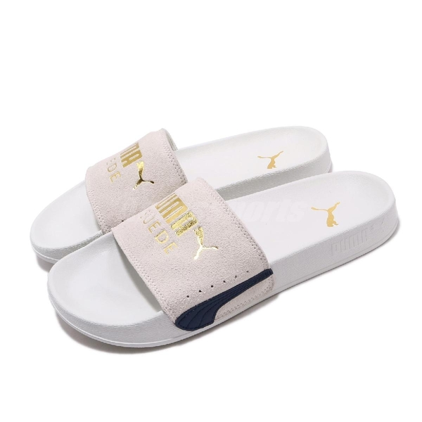Puma 拖鞋 Leadcat FTR Suede Classic 灰 金 女鞋 麂皮鞋面 涼拖鞋 【ACS】 37227703