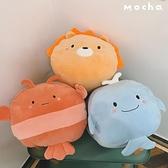 可愛獅子恐龍鯨魚企鵝動物毛絨玩具抱枕暖手禮物【輕奢時代】
