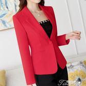 新款秋季韓版修身短款白色長袖黑色女上衣小西裝女外套  提拉米蘇