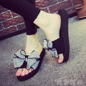 厚底拖鞋 夏季涼拖鞋女士夏天時尚室內軟底防滑外穿蝴蝶結坡跟厚底居家拖鞋 唯伊時尚