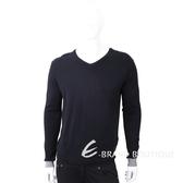 TRUSSARDI V領撞色細節皮革標夜藍色針織衫 1810248-34