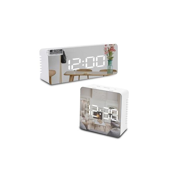 LED鏡面時鐘/鬧鐘 電子鐘/數字鐘 USB供電 生日禮物