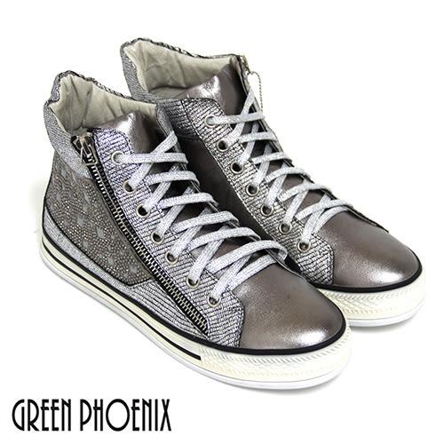 (鐵灰22、25)  女款牛皮鑚飾短筒休閒鞋【GREEN PHOENIX】BIS-VITAL  U28-28753