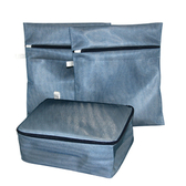 HOLA 雙層洗衣收納兩用袋3件組-藍色