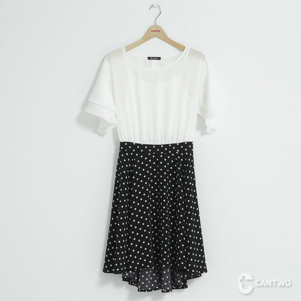 CANTWO微甜拼接波浪雪紡洋裝-共兩色