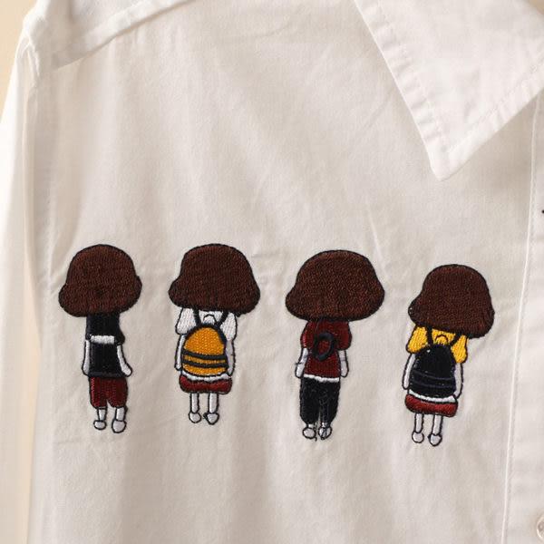 (全館免運)  -背影女孩刺繡長袖襯衫 (XA-7277)