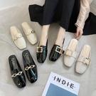 半拖鞋半拖鞋女外穿新款韓版方頭時尚百搭皮帶扣春季包頭懶人拖鞋 范思蓮恩