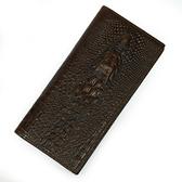 油蠟皮皮夾(長夾)-精選鱷魚紋復古多卡位男錢包73qs22【時尚巴黎】