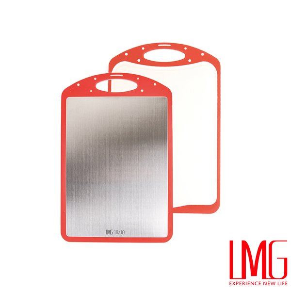 LMG▶紅色雙面防黴抗菌不鏽鋼砧板