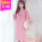 短袖連身睡衣 粉 蝴蝶結小熊 一件式居家睡裙 棉質成套休閒服 仙仙小舖