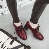 {丁果時尚}大尺碼女鞋34-43►2019春英倫風明星款優雅繫帶漆皮方頭中跟紳士鞋子*3色