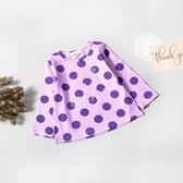 小童 俏皮點點字母長袖上衣 紫色 可愛 長袖 上衣 波點 T恤 薄長袖 女童 寶寶 童裝 彈性 棉質