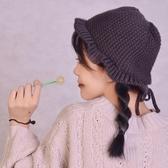 帽子女韓軟妹純色可愛帽秋冬季帽繫帶毛線帽荷葉邊休閒針織漁夫帽 喵小姐