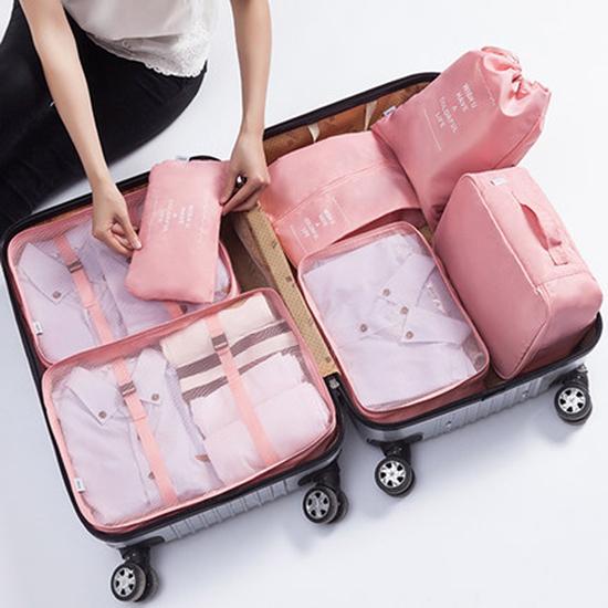 輕旅行收納七件組 290D 收納 分裝  整理袋 多功能 分隔 便攜  整理 分類【N426】米菈生活館