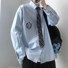 dk制服男生2020秋季長袖刺繡個性襯衫學生班服學院風襯衣情侶裝jk