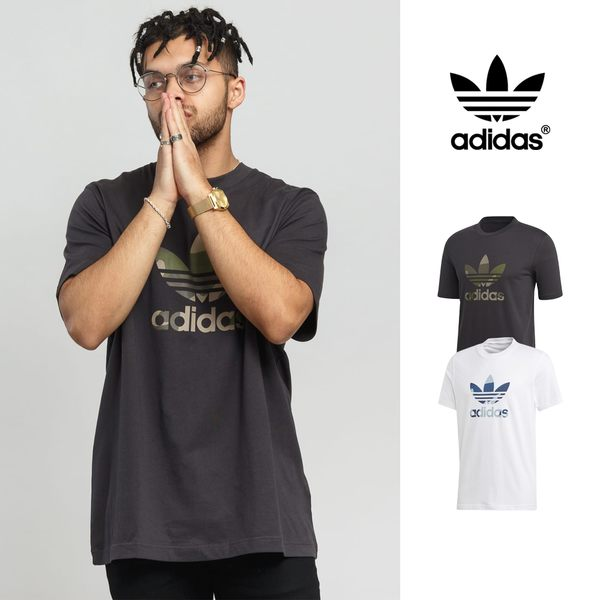 【GT】Adidas Originals 白灰 短袖T恤 迷彩 純棉 運動 休閒 素色 上衣 短T 愛迪達 基本款 三葉草 Logo