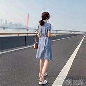 棉麻連衣裙2021新款夏季小個子女裝收腰顯瘦氣質流行polo領中長裙 快速出貨