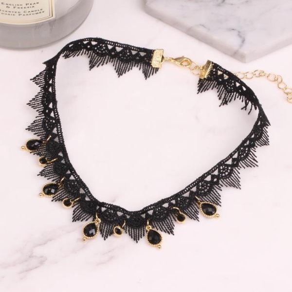 性感黑色脖子飾品正韓短版鎖骨鍊女歐美公主蕾絲頸帶項圈個性頸鍊