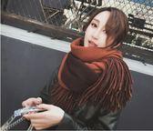 披肩 圍巾女韓版百搭加厚披肩保暖兩用針織毛線學生冬天圍脖  瑪麗蘇