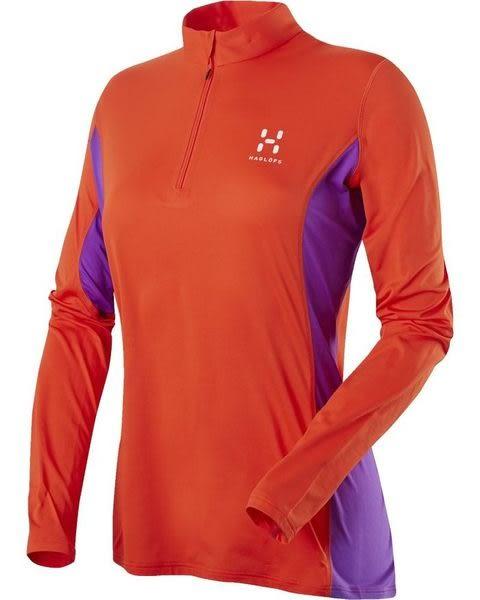 Haglofs L.I.M Q LS Zip Tee 女款抗菌輕薄快乾長袖排汗衣 2K7 火焰紅/亮紫色