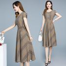 雪紡洋裝 貴夫人小個子連衣裙女顯瘦2021年夏季新款收腰洋氣遮肚子減齡雪紡 霓裳細軟