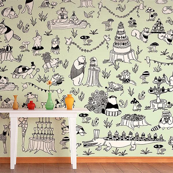【日本製壁畫】兒童房  動物紋  [WALLTZ] Dongri Pod 【283cm×275.8cm/套(一套六張壁板)】