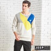 【JEEP】撞色拼接修身長袖針織衫 (灰色)