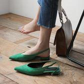 低跟涼鞋 夏季包頭鞋子復古涼鞋女百搭ins平底鞋仙女的鞋igo【蘇迪蔓】
