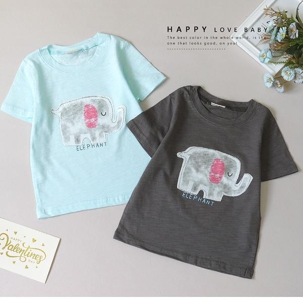 純棉 可愛閉眼大象短T 春夏童裝 男童棉T 男童上衣 男童短袖 男童T恤