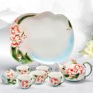 Pure 蝴蝶蘭花茶具8件組