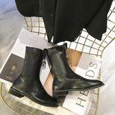 2018新款復古做舊前拉鏈馬丁靴子女低跟中筒帥氣騎士短靴潮酷  初見居家