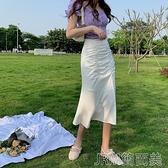 2021夏季新款高腰半身裙氣質顯瘦一步裙女中長款包臀裙a字裙 快速出貨