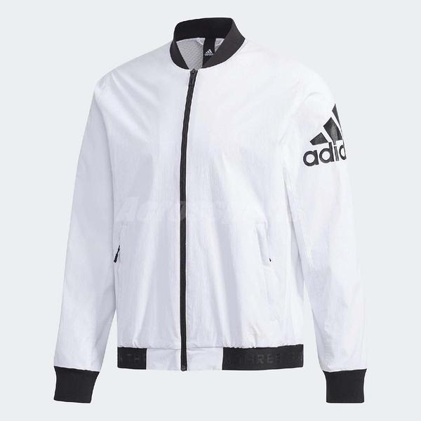 adidas 外套 Bomber Jacket 男款 長袖 上衣 拉鍊 素面 飛官 夾克 白 黑【PUMP306】 DW4617