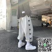 運動衛褲男印花束腳休閒褲寬鬆百搭秋季長褲【海阔天空】