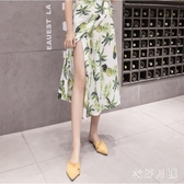 沙灘裙女2019夏季新款韓版寬鬆海邊度假復古系帶休閒雪紡洋裝 QW9533【衣好月圓】