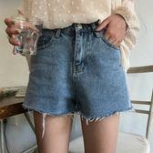 馨幫幫2018新款夏季韓版撕邊寬鬆百搭闊腿學生高腰牛仔短褲女 草莓妞妞
