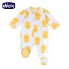 chicco- 粉彩-小鴨滿版印花前開長袖兔裝-黃色
