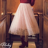 裙子 亮粉星星鬆緊紗裙長裙-Ruby s 露比午茶