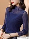 T恤衫 半高領打底衫女秋冬2020新款大碼加絨亮絲長袖內搭針織網紗上衣潮