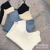 【現貨+預購】 韓版純色簡約低圓領針織百搭小背心 吊帶內搭上衣