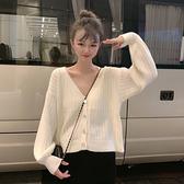 秋裝韓版2020新款寬鬆慵懶風V領外穿長袖針織毛衣女裝開衫上衣
