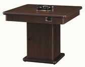 770-1方型3×3尺火鍋桌-單大爐 (含爐架)(胡桃色/木心板/美耐板面) W3×D3×H2.5尺