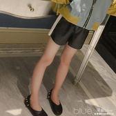 童裝褲子春裝時髦女童短褲中大童韓版休閒皮褲洋氣運動褲 深藏blue
