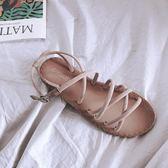 交叉帶涼鞋女夏平底平跟一字帶沙灘女涼鞋一字扣學生羅馬涼鞋黑色 挪威森林