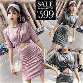 克妹Ke-Mei【ZT46907】S曲線心機系 U領扭結上衣+裙針織二件式套裝