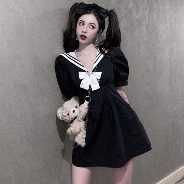 夏季2021新款海軍風收腰顯瘦水手服暗黑系減齡黑色顯瘦洋裝女 【Ifashion】